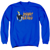 JOHNNY BRAVO/JOHNNY LOGO - ADULT CREWNECK SWEATSHIRT - ROYAL BLUE -