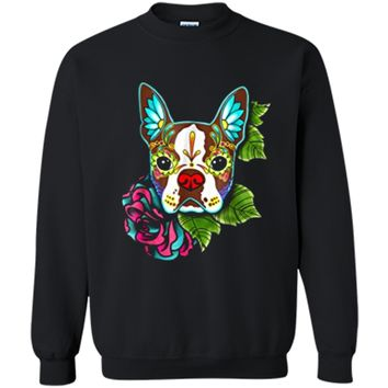 Boston Terrier in Red - Day of the Dead Sugar Skull Dog Printed Crewneck Pullover Sweatshirt