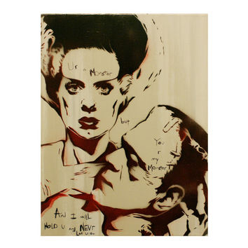 MONSTER LOVE 12 x 16 Frankenstein Portrait with the Bride of Frankenstein Original Painting Inspired by Pop Art Vintage Horror Graffiti Obey