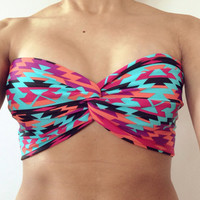 Black pink turquoise purple orange neon Aztec tribal spandex bandeau swim suit bikini top by Opus 19