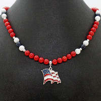 USA FLAG Red Coral White Howlite Blue Dumortierite