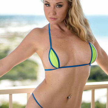 Solid Neon Green Mini Teardrop Micro G-String Bikini 2 Piece XS Thong Minimal Coverage Extreme Tan Barely There w/ Electric Blue String
