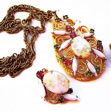 Juliana Pendant Necklace Earring Set D&E Book Piece Porcelain Painted Flowers Pink Green Rhinestones Gold Metal Vintage