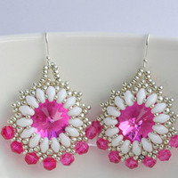 Pink White Earrings Crystal Glass Medium Size Gift Fuchsia Hot Pink Beaded Superduo Beaded  Beadwork Dangle Earrings Bead Jewelry Pink Gifts
