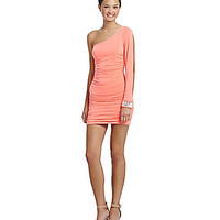 Honey and Rosie One-Shoulder Beaded-Cuff Dress - Neon Coral