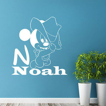 Boy Name Wall Decal Personalized Mickey Mouse Decals Nursery Room Decor DS401