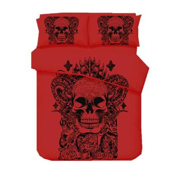 Red Skull Printed Duvet Cover Set 2/3pcs Single Double Queen King (No Sheet No Filling)