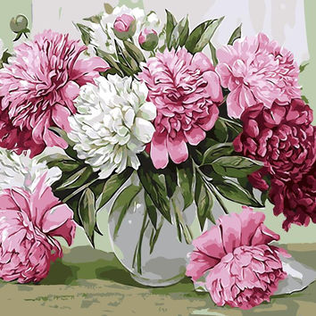 Frameless picture oil painting by numbers paint by number for home decor  PBN for living room 4050 pink peony