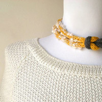 Yarn knitted necklace, Fabric bib necklace, Fiber yarn jewelry, Women's accessories, Eco friendly