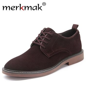 Merkmak Brand New Men Casual Shoes Mens High Top Winter Autumn Comfortable Cow Suede Leather Men Flat Shoes Supterstar Style