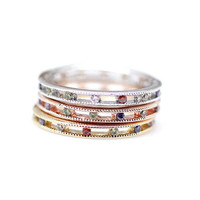 Multi Colored Gemstone Stackable band Rings in 3 Colors