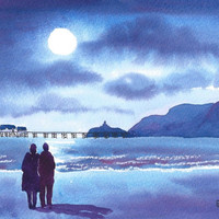 Watercolour Print Stroll in the Moonlight Mumbles Swansea Wales