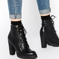 London Rebel Fay Heeled Biker Boots