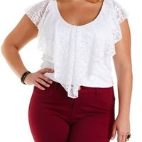 Lace Flounce Crop Top by Charlotte Russe