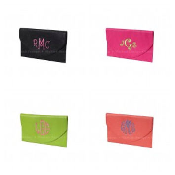 Personalized monogram envelope clutch leather by AfterNineDesigns
