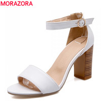 MORAZORA 2016 new arrival women shoes summer solid sandals high heels white black lady dress shoes