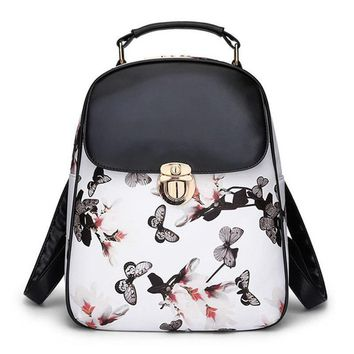 Lady PU Leather Autumn Winter Butterfly Flowers Print Backpacks