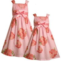 Bonnie Jean Little Girls 4-6X PINK FLORAL-PRINT FOIL DOT EYELET Special Occasion Wedding Flower Girl Easter Pagenat Party Dress