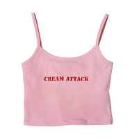 """CREAM ATTACK"" Crop Tank Top (Pink) 