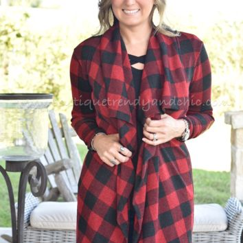 BUFFALO PLAID WATERFALL CARDIGAN