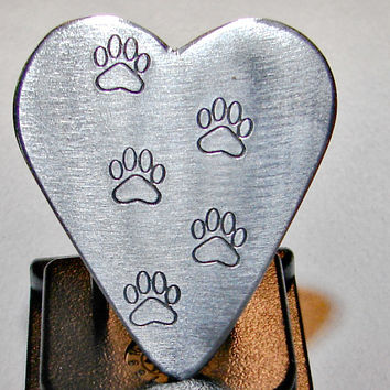 Guitar Pick Handmade from Aluminum in Heart Shape with Paw Stamps