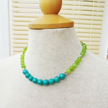 Olive Green and Aqua Blue Kyanite Necklace, Kyanite Necklace, Green and Blue