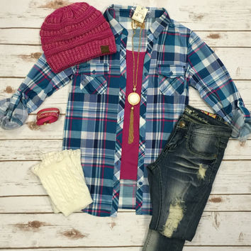 Penny Plaid Flannel Top: Turqoise/Pink