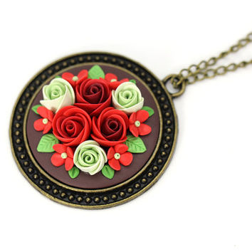 "Floral Necklace ""Christmas"" Red Green Pendant with Flowers Polymer Clay Gift for Christmas Floral Jewelry Feminine Necklace Red Roses Gift"