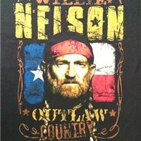 "NEW! Willie Nelson ""Outlaw Country Flag"" Classic Rock Concert Adult T-Shirt"