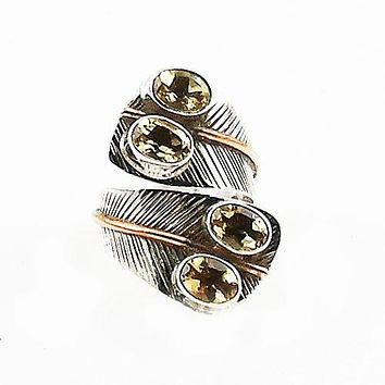 Citrine Two Tone Adjustable Sterling Silver Leaf Ring