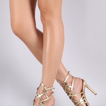 Metallic Caged Peep Toe Stiletto Heel
