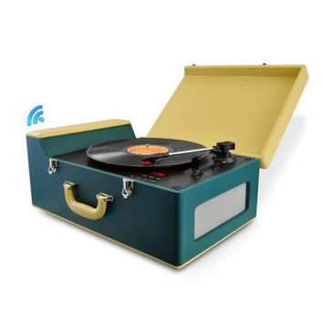 Bluetooth Vintage Classic-Style Turntable Speaker System, Vinyl-to-MP3 Recording, CD Player, AM/FM Radio, MP3/USB/SD Readers