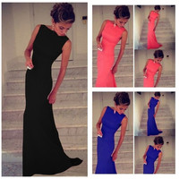 European sexy party dresses Womens Prom Ball Cocktail Long Dress Slim Maxi Formal Evening Gown