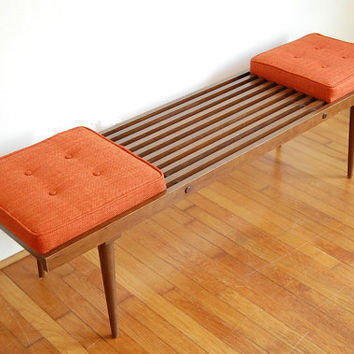 George Nelson Inspired Mid Century Modern Slatted Bench with Orange Cushions