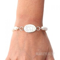 Monogrammed Natural Pearl Bracelet With Sterling Oval | Marleylilly