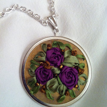 Purple Rose Pendant  Silk Ribbon Embroidery by BeanTownEmbroidery