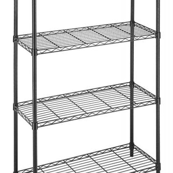 Black/Chrome Commercial 4 Tier Shelf AdjustableSteel Wire Metal Shelving Rack