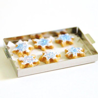 Miniature Cookies Holiday Snowflakes Dollhouse Christmas Bakery 1:12 Scale