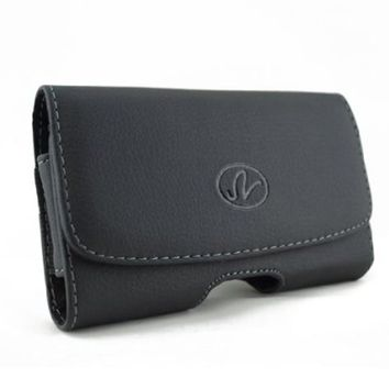 Black Leather Sideways Horizontal Belt Clip Case Pouch Cover for LG Cell Phones VN251