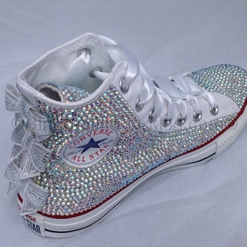 White Chuck Taylor High Top Glass Crystal, Rhinestone Bling, Glitz Customised Converse, Swarovski replica Bridal, Wedding Prom Sequin bows