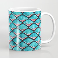 Teal blue and coral pink arapaima mermaid scales Coffee Mug by savousepate