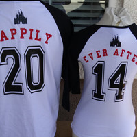 Free Shipping Disney Inspired Couples Baseball TShirts Happily Ever After Mickey and Minnie Raglan Shirts