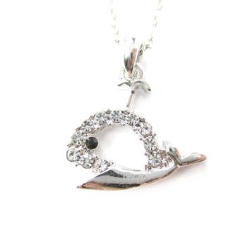 Rhinestone Whale Cut Out Shaped Pendant Necklace in Silver | DOTOLY