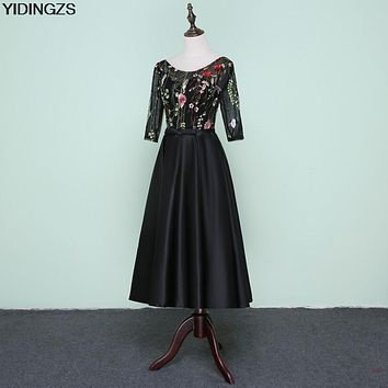 YIDINGZS Yidingzs 2017 New Black Prom Dress Tea-Length Embroidery Flower Tulle A-line Party Evening Dress