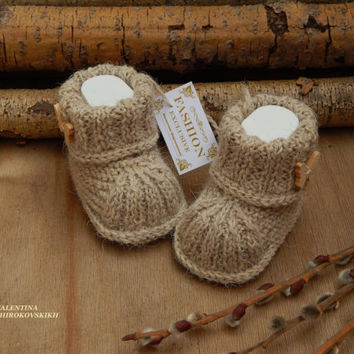 ad8417ae300c Shop Hand Knit Baby Booties on Wanelo