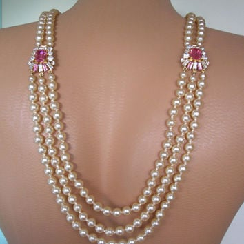 Backdrop Necklace, Art Deco, Great Gatsby Jewelry, Downton Abbey, Pearl Neckace, Bridal Backdrop, Back Necklace, Pink Bridal Jewelry
