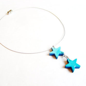Reversible Ombre Nautical Star Necklace - Turquoise Star Wooden Necklace, Hand Painted Jewelry - Lightweight Necklaces Blue Star Pendants
