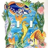 Switch Plate Cover - Hand Painted Metal Tropical Fish Switchplate