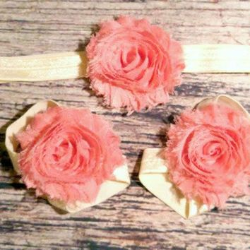 Ivory and Coral Headband and Barefoot Sandals Set