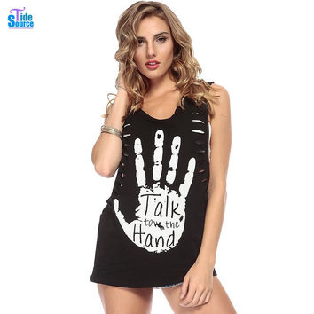 sexy Fan Punk Skull Palms Women Tops Painted Letters Printed Loose Sleeveless Sexy T-Shirt Women Vest Fashion